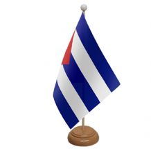 CUBA - TABLE FLAG WITH WOODEN BASE